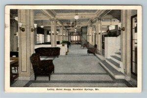 Excelsior Springs MO-Missouri, Lobby, Hotel Snapp, Vintage c1920 Postcard