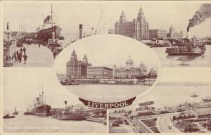 Multi-Views, Steamer, Cargo Ship, Panorama, Etc., LIVERPOOL (Lancashire), Eng...