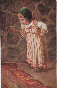 Post Card Girl with Ladle from Leizip, Saxony, Germany