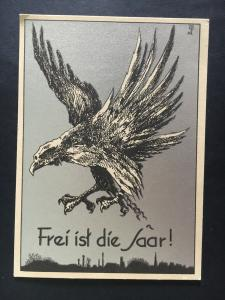 Mint 1935 Germany Art Postcard The Saar Is Free! Eagle with Chain Flying