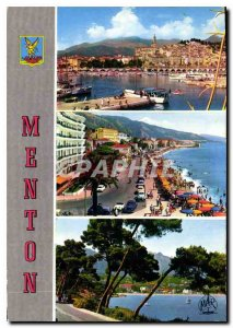 Postcard Modern Speaks Menton in France Port