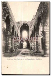 Old Postcard Interior Ruins of the Abbey St. Matthew