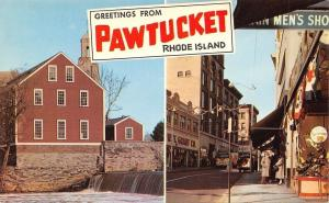 Pawtucket Rhode Island~Banner Greeting~Main Street~WT Grant~Slater Mill~1950s PC