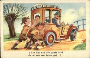 Boy Scouts Help Push Man's Car Good Deed Old Postcard