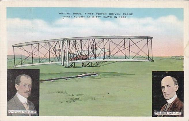 Wright Brothers First Power Driven Plane First Flight At Kitty Hawk In 1903 P...