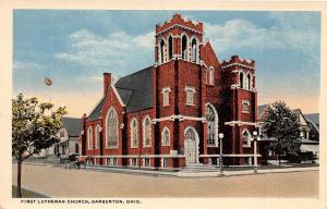 B45/ Barberton Ohio Postcard c1910 First Lutheran Church Building