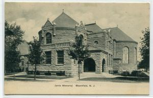 Jarvis Memorial Library Bloomfield New Jersey 1905c postcard