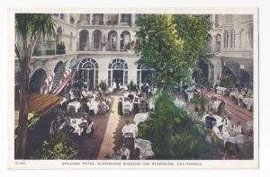 CA Riverside Glenwood Mission Inn Spanish Patio Restaurant Vntg Postcard