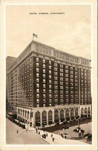 Cincinnati Ohio~Hotel Gibson~Monument in Front~1935 Sepia Postcard