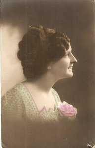 Pretty smilling lady with pink rose Nice vintage German  PC