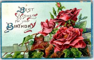 Vintage Embossed Postcard Best Wishes for Your Birthday Red Roses 1910 Cancel