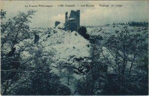 CPA CROZANT Les Ruines - Paysage de Neige (1144279)