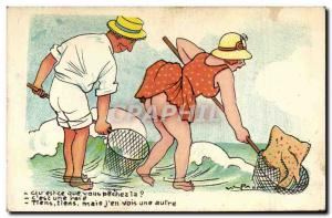 Postcard Old Humor Qu & # 39est you sins? Female Ray