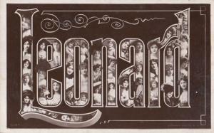 A Boys Mans Named Called LEONARD Len Lenny Antique Name Postcard