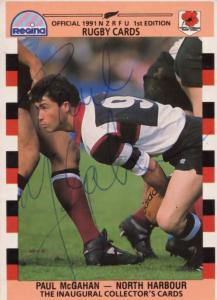 Paul McGahan North Harbour Team Rugby 1991 Hand Signed Card Photo