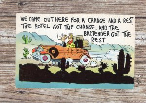 We Came Out Here For A Change & A Rest----Vintage Comic Chrome Postcard, Couple