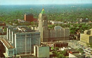 Michigan Detroit Aerial View Fisher Building