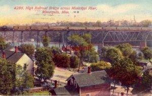 HIGH RAILROAD BRIDGE ACROSS MISSISSIPPI RIVER, MINNEAPOLIS, MN 1912