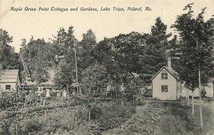 Poland ME Tripp Lake Maple Grove Point Cottages & Gardens Postcard