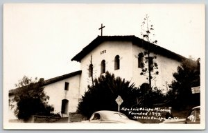 San Luis Obispo California~Mission Built in 1772 RPPC 1940s Postcard