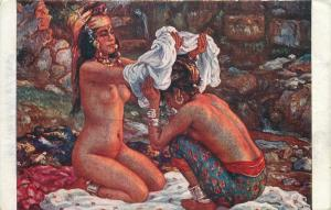 Early art postcard nude in paintings Sanktis after the bath