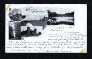 MA Greetings From NORTHFIELD MASS POSTCARD 1904 UDB Postcard Massachusetts