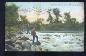 MINOT NORTH DAKOTA FISHING IN MOUSE RIVER VINTAGE POSTCARD N.D. LARNFELT MO.