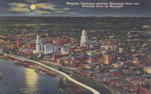 Tennessee Memphis Showing Mississippi River And Riverside Drive By Moonlight