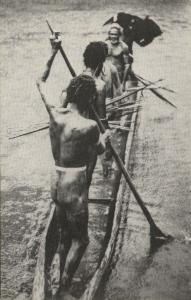 dutch new guinea, Native Oarsmen of the Brazza River (1960s)