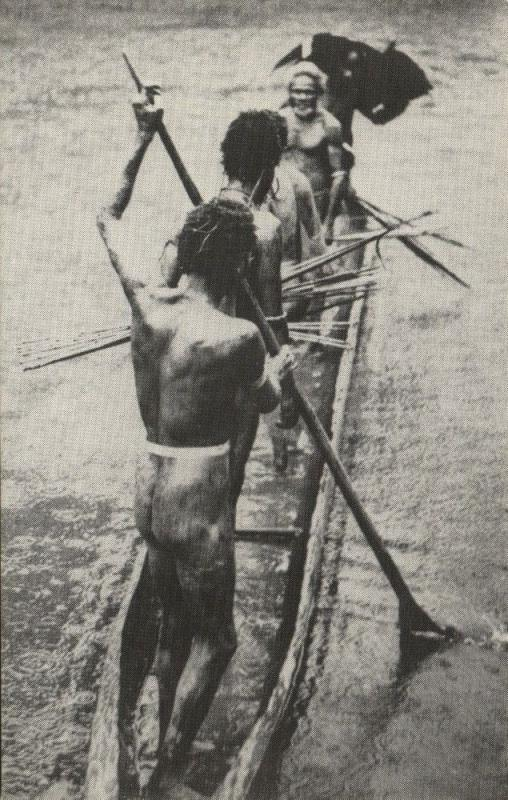 dutch new guinea, Native Oarsmen of the Brazza River (1960s)
