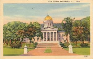 Montpelier Vermont~State Capital~1933 Linen Postcard