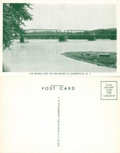 LAMBERTVILLE N.J. BRIDGE TO NEW HOPE PA ANTIQUE POSTCARD