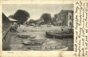 malay malaysia, PENANG, Harbour Scene with Post Office (1906) Postcard