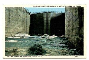 Panama - Canal Zone. Miraflores Lock, Filling Upper Chamber