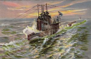 German U-Boat (Submarine) on surface, patrol , 00-10s