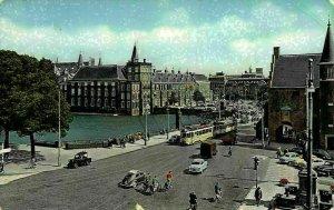 Netherlands The Hague Square and Courtpond Tram Vintage Cars Postcard