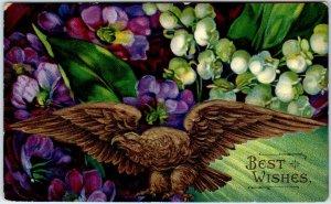 Vintage BIRTHDAY Embossed Postcard Eagle / Colorful Flowers c1910s UNUSED