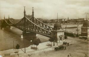 Hungary Budapest Francis Joseph bridge photo postcard 1928