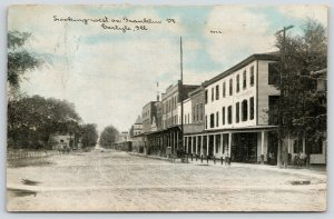 Carlyle IL~Covered Sidewalks Before Old Shops~Hanging Light~1911 CU Williams PC