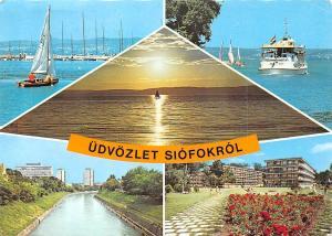 Hungary Udvozlet Siofokrol multiviews Harbour Port Boats Sunset