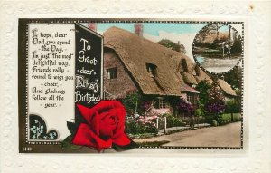 Postcard Greetings birthday father house rose red