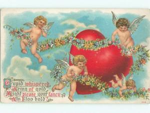 Pre-Linen Valentine CUPIDS FLYING AROUND PART AB3149