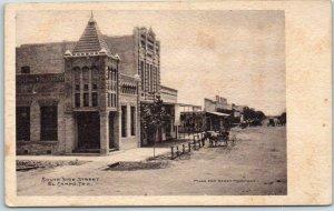 1900s EL CAMPO, Texas Postcard SOUTH SIDE STREET Downtown Scene Gerst Pharmacy