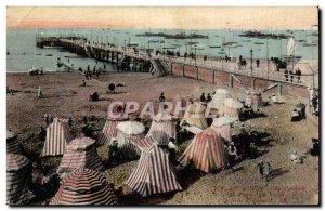 Arcachon Old Postcard Beach tents walk the pier