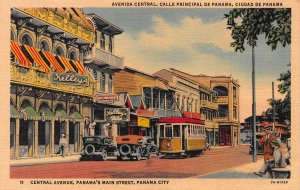 Central Ave., Panama's Main Street, Panama City, Panama, Early Postcard, Unused