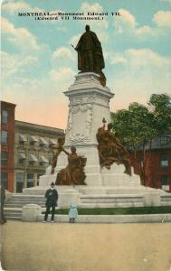 Montreal Quebec~Monument Edward VII~Little Girl Sits on Edge~1912 Postcard
