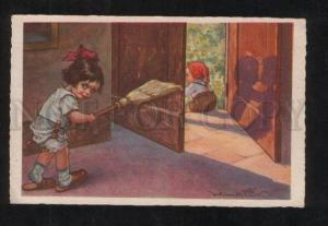 069073 Cute Girl by CASTELLI vintage ART DECO Italy Vintage PC
