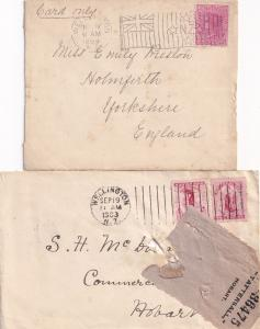 New Zealand 1899 Flag Barr Fyke Machine Stamp 2x Wellington Postmark