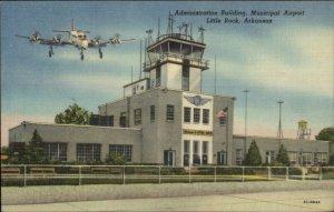Little Rock AR Airport Airplane Linen Postcard