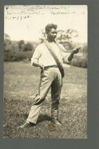 Manila PHILIPPINES RP 1924 SNAKE HANDLER Charmer KILLING SNAKES Posing